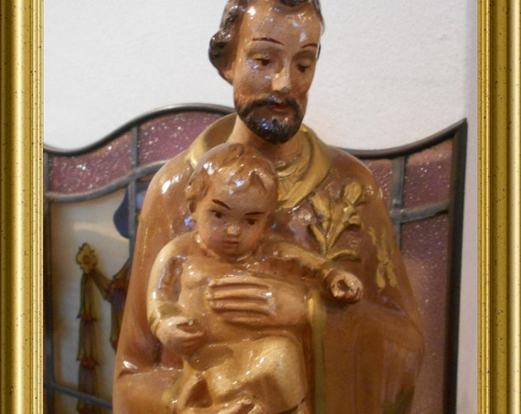 Vintage plaster figurine: Joseph with child