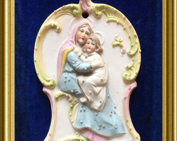 Antique bisque porcelein holy water font : Mary with child