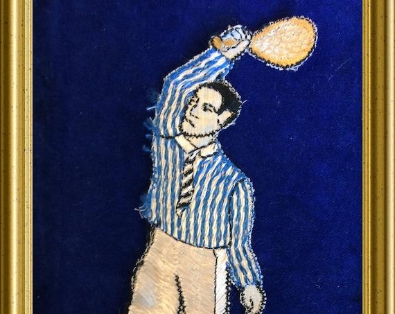 Vintage Turmac woven silk, tennis player, sport
