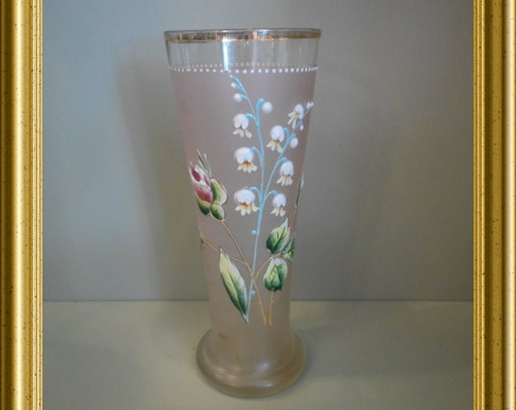 Lovely antique vase with enamel flowers: rose, lily of the valley