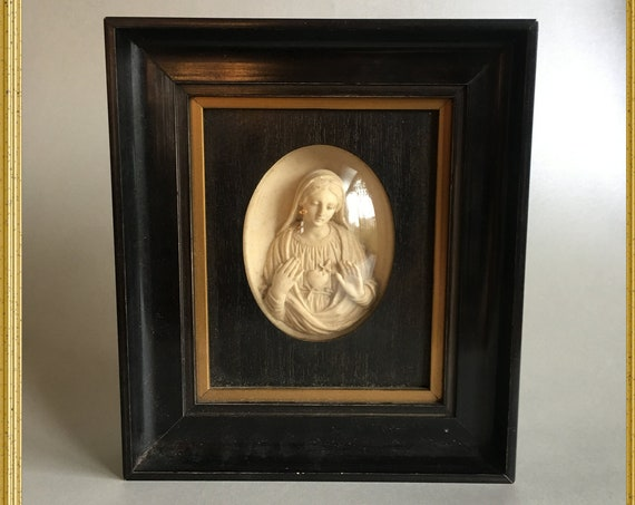Antique wall frame meerschaum sacred heart holy Mary