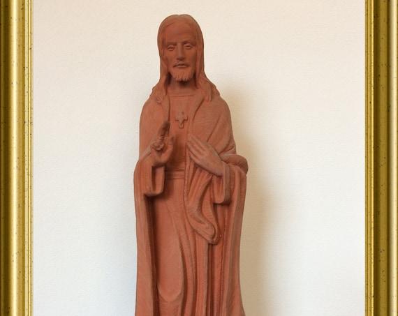 Vintage terracotta Jesus figurine, signed Antheunis