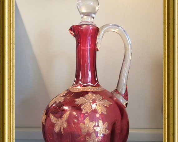 Antique Victorian pink cranberry glass decanter, carafe