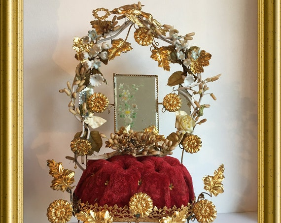 Antique French bridal chair, richly decorated with porcelain flowers, gold metal ornaments wax flower corsage and some mirrors