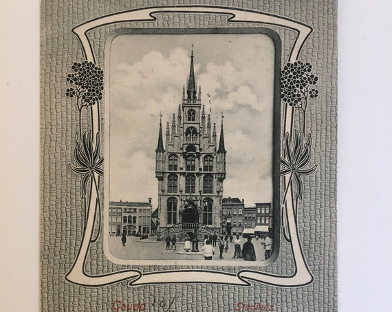 Art nouveau Dutch postcard: Gouda.
