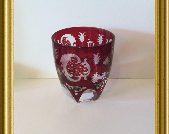 Lovely Bohemian red cut glass: stork, bird