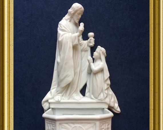 Antique large white bisque porcelain holy water font, communion