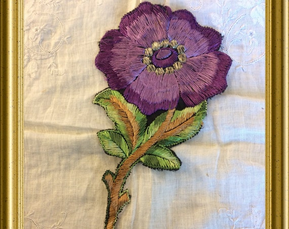 Vintage woven Turmac silk : large purple flower