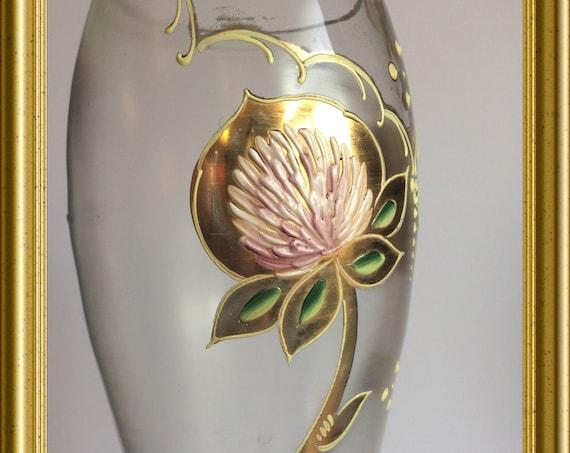 Antique glass vase with enamel flowers