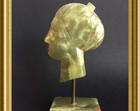 Art deco bust / head: onyx
