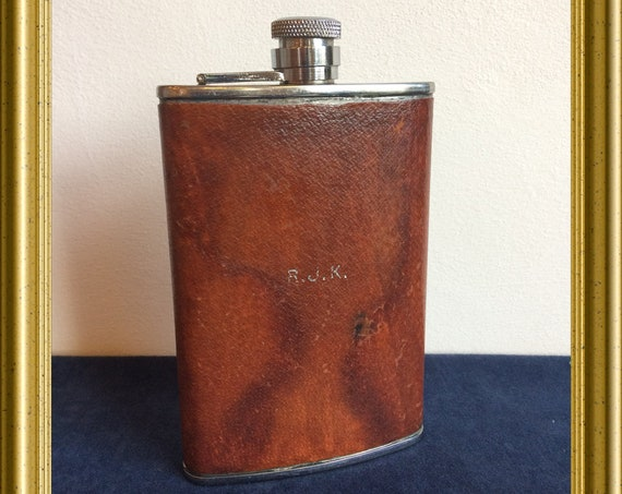 Vintage English flip top hip flask, pocket flask, leather