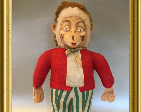 Vintage doll: monkey with clothes