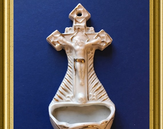 Antique porcelain holy water font: Jesus Christ, cross