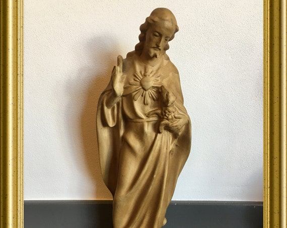 Vintage Jesus figurine: the good shepherd, art pottery Zuidholland Gouda