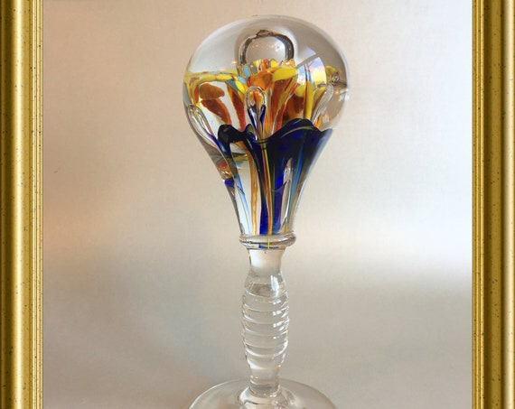 Antique art glass object: wig stand