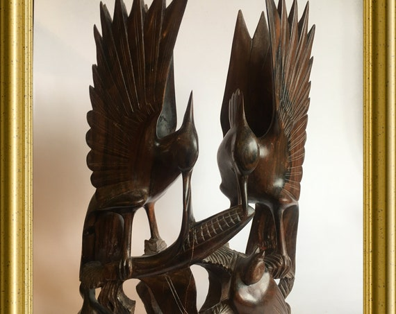 Vintage woodcarving, wooden figurine: birds nest