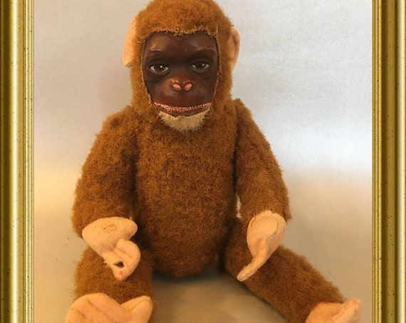 Antique toy doll: monkey, wire frame