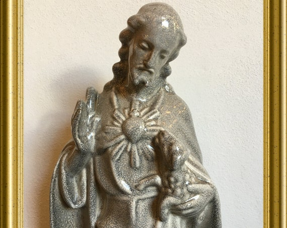 Vintage Jesus figurine: the good shepherd, art pottery Zuidholland Gouda