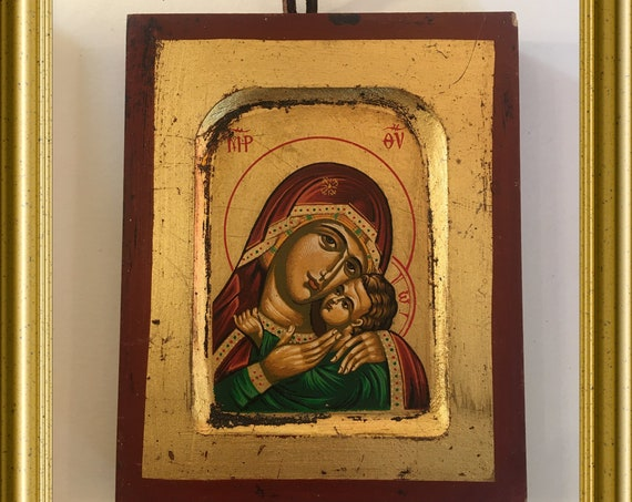 Hand painted icon: mother with child