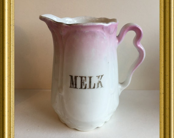 Antique pink porcelain creamer/ milk jug