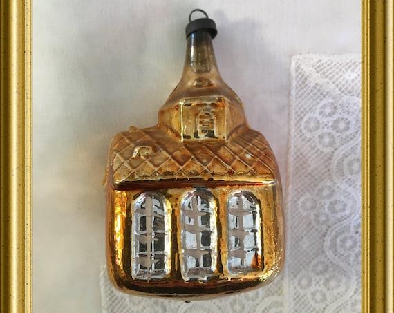 Antique glass christmas ornament: church