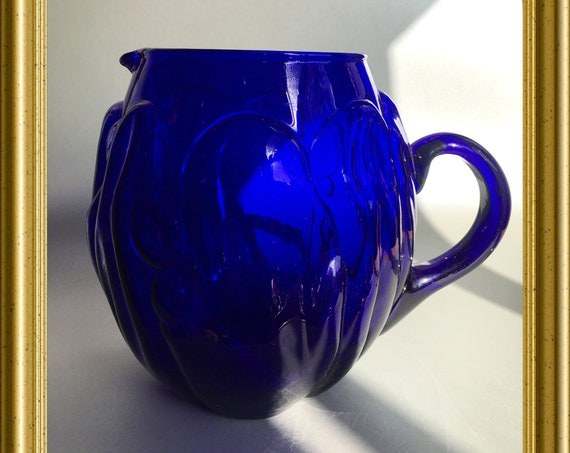 Vintage cobalt blue glass pitcher, jug