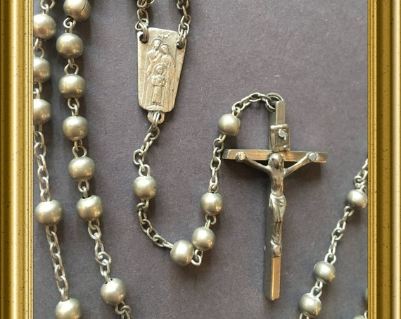 Vintage silver tone rosary