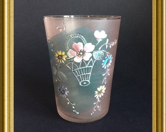 Antique pink glass with flowers