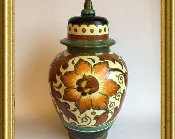 Gouda hand painted art pottery vase with lid: PZH Gouda
