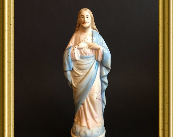 Antique bisque porcelain figurine: Jesus, sacred heart