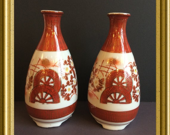 Pair of two small Japanese porcelain vases