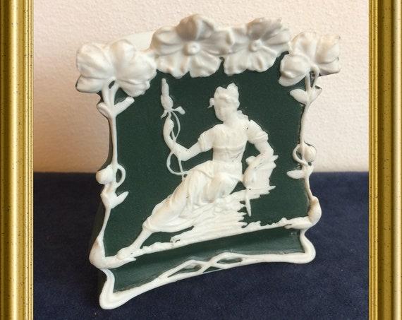 Antique small green porcelain vase, jasperware