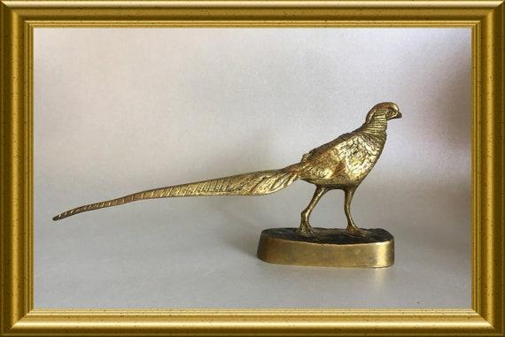 Vintage bronze figurine: bird, pheasant