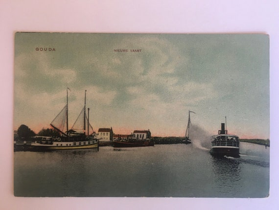 Antique postcard: Nieuwe Vaart Gouda, boat, ship, steamer