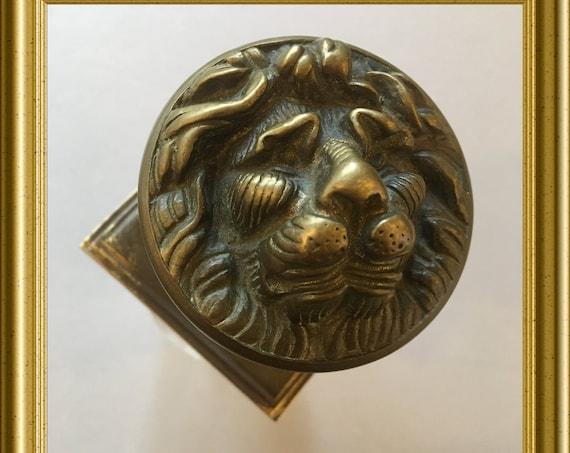 Large bronze doorknob: lion, lion's head