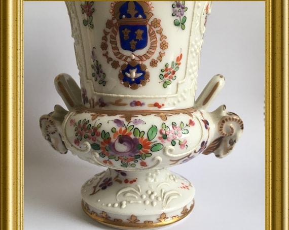 Antique small porcelain vase/ urn: Edme Samson Paris, armorial, heraldic
