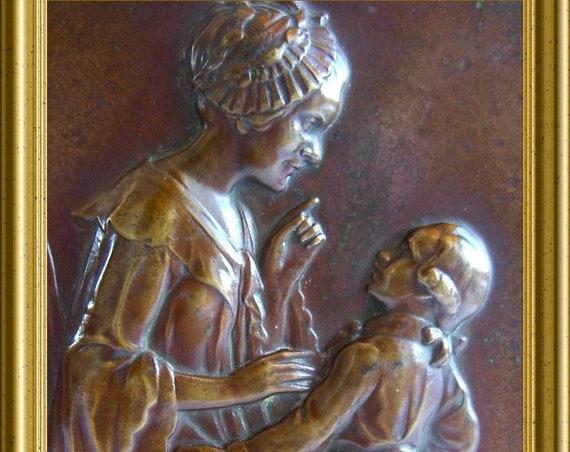 Antique bronze plaque : Frau Rath, Goethe, J. Kowarzik