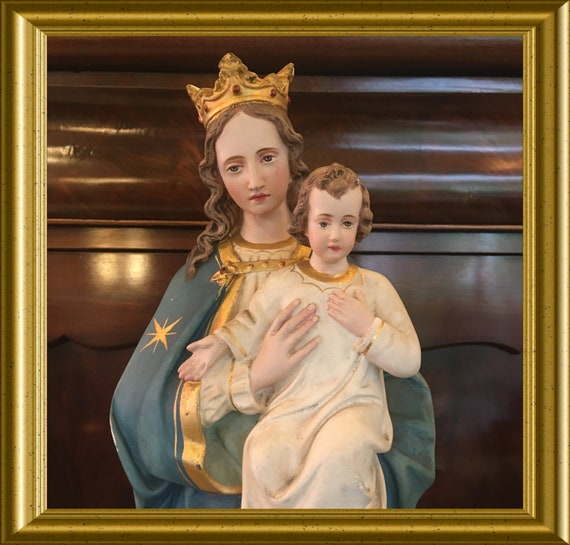 Pickup only in Gouda!!! Vintage plaster figurine: Mary with child