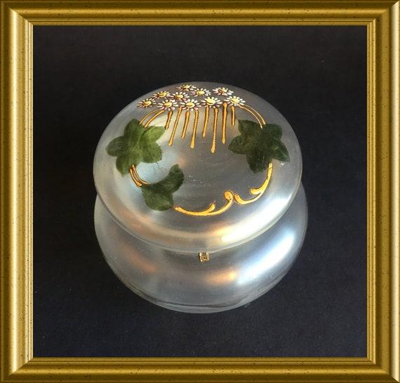 Antique glass box, powder box, trinket box: enamel flowers