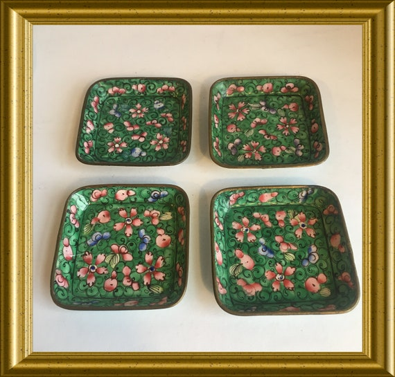 Four vintage small chinese enamel dishes