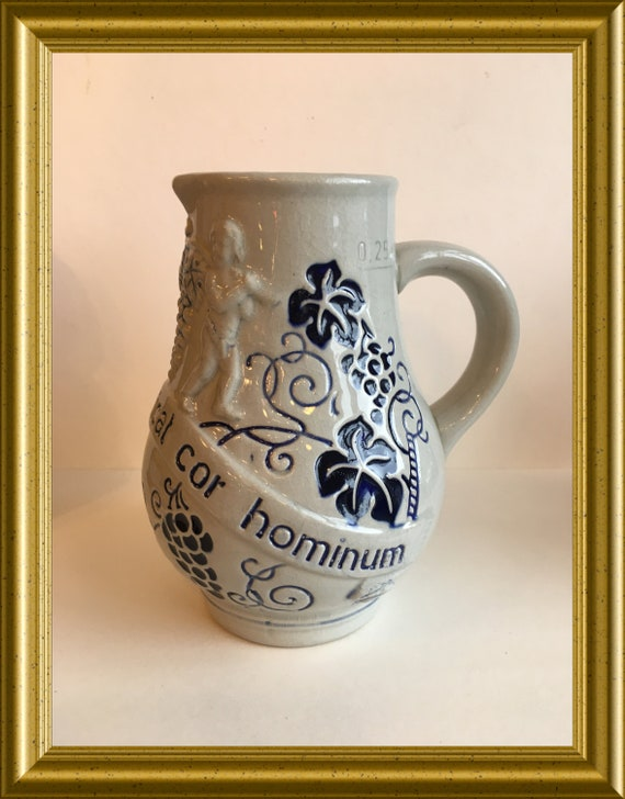 Small salt glaze stoneware wine jug: vinum bonum laetificat cor hominum