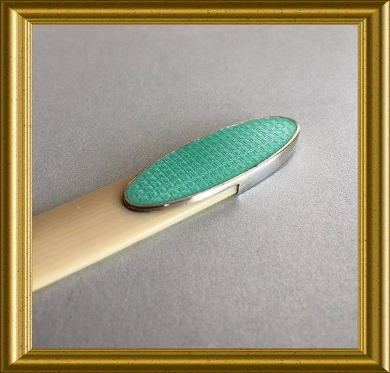 Art deco letter opener: celluloid, sterling silver, guilloche enamel paper knife