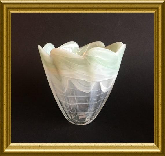 Arte Murano lavorazione vase : green glass