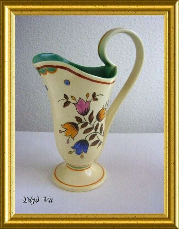 Beautiful hand painted art pottery vase / jug, PZH Gouda