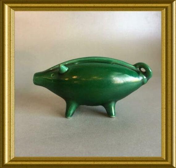Miniature Dutch ceramic piggy bank: Spaarbank Rotterdam, small money box