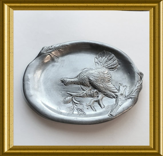 Vintage pewter dish with bird (partridge?) VCM Portugal