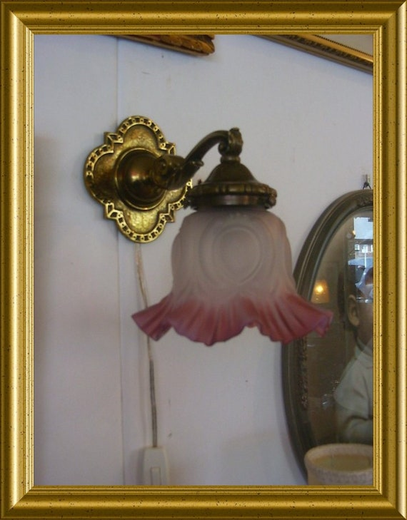 Two vintage set of lamps; pink shade