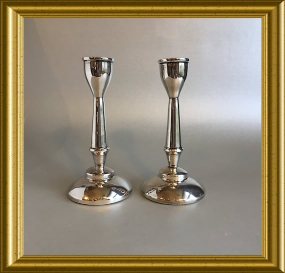 Two small sterling silver (925) candle holders