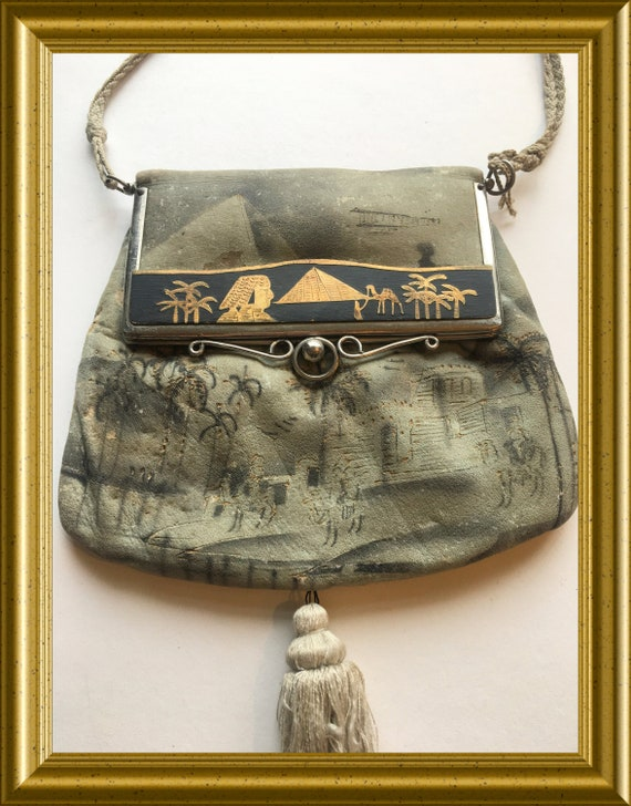 Art deco purse/ evening bag with mirror: Egypt, pyramid, airplane, pharaoh