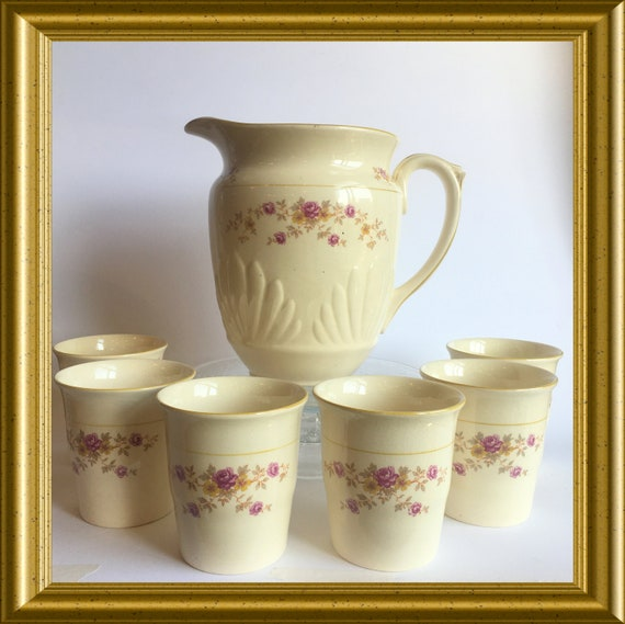 Vintage Gouda art pottery jug with 6 cups: PZH Gouda